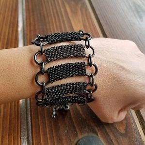 Jewelry - Black & Gunmetal Silver Chunky MultiChain Bracelet